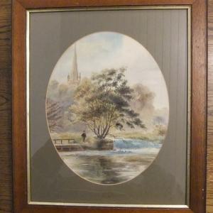 Framed Watercolour-pastoral scene